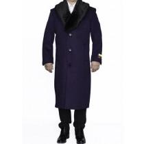 Mens Notch Lapel Purple Big And Tall Wool Overcoat