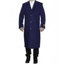 Indigo Blue Big And Tall Notch Lapel Overcoat