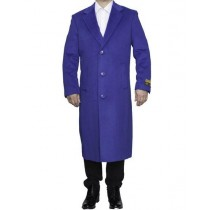 "Royal Blue Big And Tall Full Length 48"" Long Overcoat"