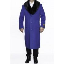Royal Blue Big And Tall 4XL 5XL 6XL Notch Lapel Overcoat