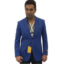Mens Blue Notch Lapel Single Breasted