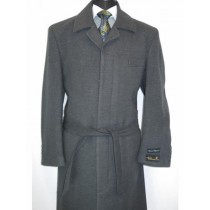Charcoal Belted Wool Overcoat full length winter coats
