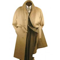 Mens Camel Belted Wool Top coats full length winter Overcoat - Mens Tan Overcoat