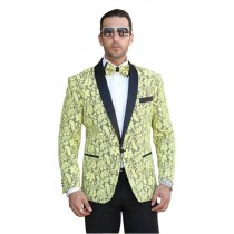 Mens Notch Lapel Yellow Floral Pattern Tuxedo