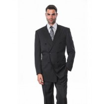 Black Alberto Nardoni Double Breasted Wool Suit
