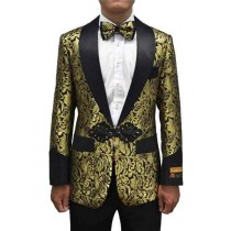 Gold Black Button Closure Mens Blazer In Alberto Nardoni