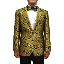 Alberto Nardoni Peak Lapel Gold Black Mens Blazer