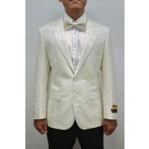 Alberto Nardoni Ivory Single Breasted Notch Lapel Suit