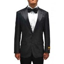Peak Lapel Alberto Nardoni Black Paisley  Overcoat