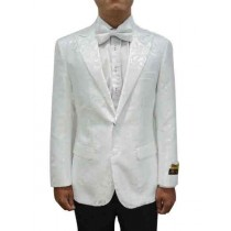 Peak Lapel Alberto Nardoni Paisley Blazer In White