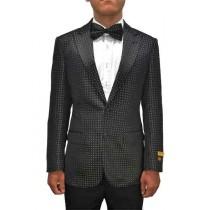 Peak Lapel Black Alberto Nardoni Bow Tie Paisley Blazer