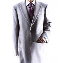 Mens Single Breasted Gray Two Button Notch lapel Topcoat