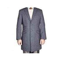 Mens Single Breasted Gray Herringbone Tweed Wool Carcoat