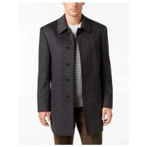 BREASTED HERRINGBONE WOOL BLEND CHARCOAL OVERCOAT