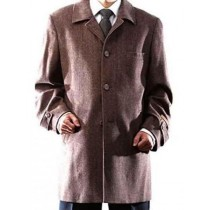 Mens Single Breasted Three Button Herringbone Wool Brown Topcoat