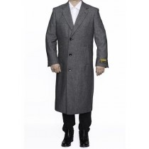 Mens Three Button Full Length Wool Herringbone Gray Overcoat - Mens Topcoat