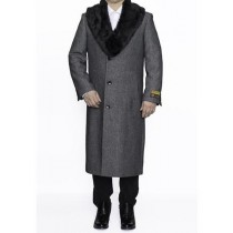 Mens Removable Fur Collar Full Length Wool Herringbone Grey Overcoat
