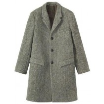 Mens Single Breasted Herringbone Tweed Wool Grey Overcoat