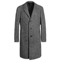 Mens Single Breasted Full Length Tweed Herringbone Gray Overcoat