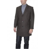 Mens Brown Single Breasted Herringbone Wool Blend Coat