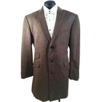 Mens Single Breasted Herringbone Tweed Wool Blend Taupe Car Coat
