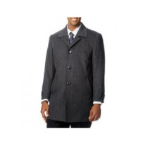 Mens Single Breasted Herringbone Tweed Cashmere Grey Top Coat