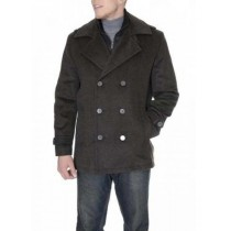 Mens Double Breasted Six Button Herringbone Brown Peacoat