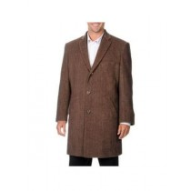 Mens Herringbone Tweed Cashmere Blend Light Brown Top Coat