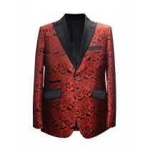 Alberto Nardoni Peak Lapel Paisley Pattern Blazer In Red