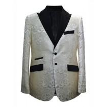 Cream Ivory Alberto Nardoni Paisley Pattern Blazer