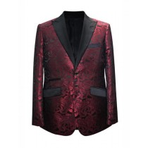 Mroon Wine Paisley Pattern Blazer In Alberto Nardoni