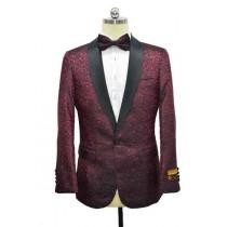 Burgundy Black Lapel Paisley Floral Tuxedo Sport Coat