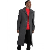Mens Blu Martini Four Button Wool Full Length Charcoal Overcoat