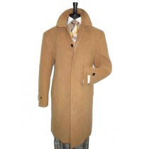 Mens Camel Covered Button Wool Regular Fit Overcoat - Mens Tan Overcoat