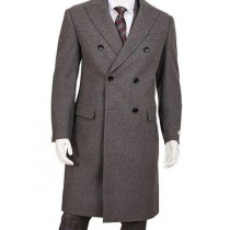 Mens Gray Five Button Wool Overcoat Double Breasted Top Coat