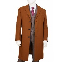 Mens Three Button Camel Single Breasted Wool Overcoat