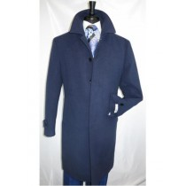 Mens Navy Covered Button Regular Fit Wool Overcoat