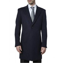 Mens Single Breasted Modern Fit Polyester Spandex Navy Topcoat