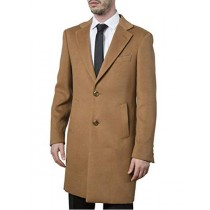 Mens Camel Single Breasted Polyester Viscose Spandex - Mens Topcoat - Wool Top Coat