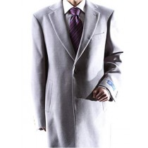 Mens Caravelli Two Button 3/4 Length Light Gray Topcoat