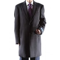 Mens Single Breasted Two Buttons Carcoat Black Topcoat