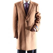Mens Two Button Single Breasted 3/4 Length Camel Topcoat