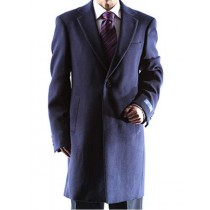 Mens Caravelli Two Button Notch Lapel 3/4 Length Navy Topcoat