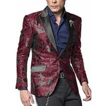 Burgundy Maroon Wine Alberto Nardoni Shiny Jacket Tuxedo