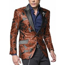 Rust Brick Burnt Orange Alberto Nardoni Paisley Blazer