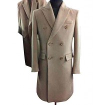 Mens Beige Big And Tall Wool Overcoat Outerwear Topcoat