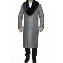 Mens Big And Tall Light Grey Wool Outerwear Coat Overcoat