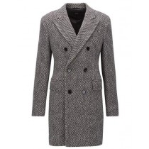 MENS GRAY HERRINGBONE TWEED OVERCOAT DOUBLE BREASTED TOP COAT