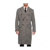 Black White Double Breasted Gray Herringbone Tweed Overcoat