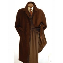 Mens Single Breasted Peak Lapel Dark Brown Overcoat - Ankle Length Coat